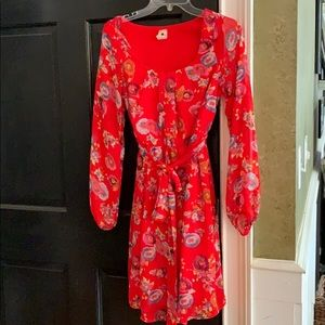 Anthropologie Needle and Thread red dress small